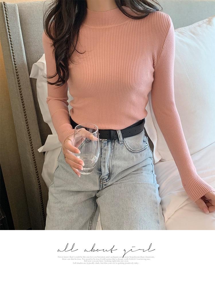 11 couleurs Options taille libre femmes chandails automne à manches longues mince col roulé Stretch mat bleu tricoté pull pull hauts