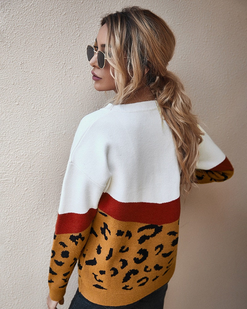 2020 mode léopard femmes chandail automne hiver dames col rond manches longues pull décontracté tricoté femme surdimensionné pulls