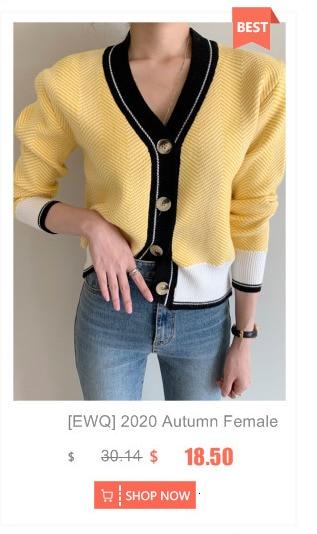 [EWQ] automne 2020 nouveau chandail manteau rétro chemise vérifier à manches longues simple boutonnage Plaid en tricot lâche Cardigan marée dames QB321