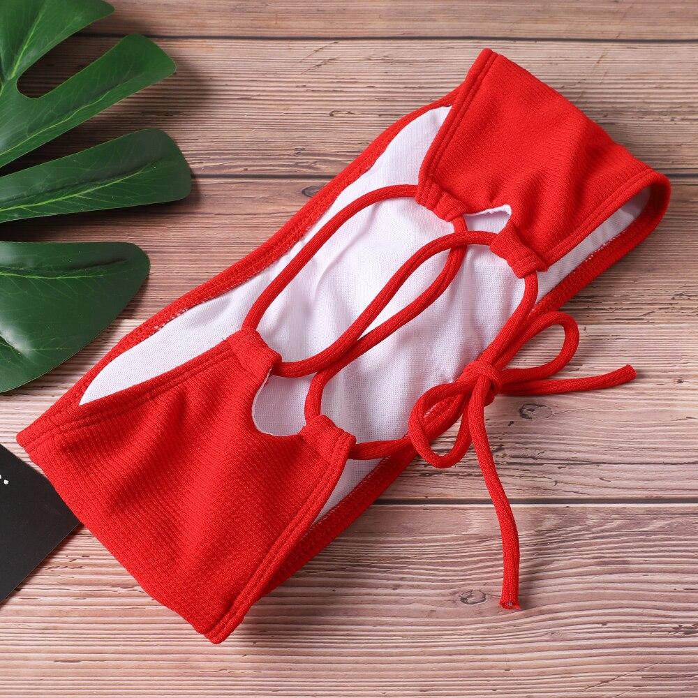 2020 nouveau Bikini femmes maillots de bain taille haute sans bretelles Sexy Bikini couleur Pure femmes maillot de bain rembourré maillot de bain Monokin