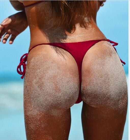 2020 gros tanga SEXY femmes Bikini bas couleur unie G-String brésilien tongs maillots de bain taille haute maillot de bain bas natation