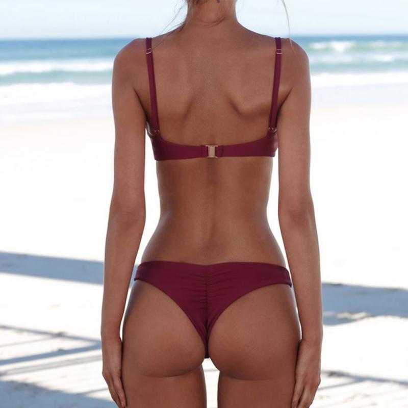 2019 nouveau été femmes solide Bikini ensemble Push-up non rembourré soutien-gorge maillot de bain maillot de bain Triangle baigneur costume de natation Biquini