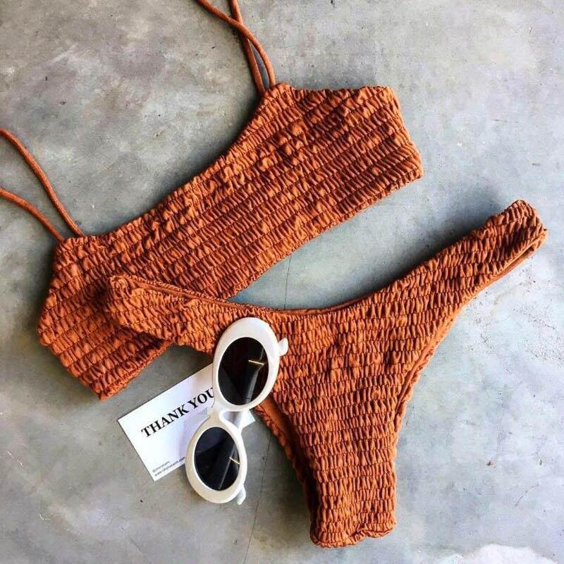 2017 nouveau Sexy filles Bikini Push-up plissé triangle maillots de bain femmes Push-up soutien-gorge Bikini ensemble maillot de bain plage maillot de bain